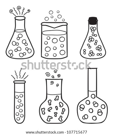 Set chemical test tubes hand drawn for Chemistry coloring page