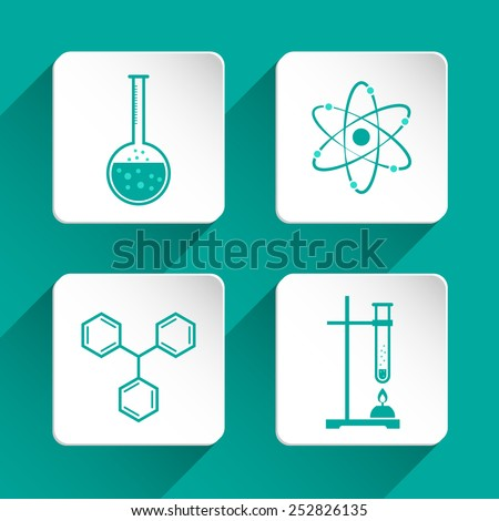 Set of chemistry icons for design. Vector illustration - stock vector