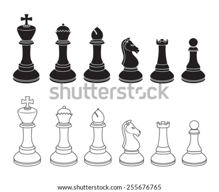 Set of Chess Icons in Black and White - stock vector