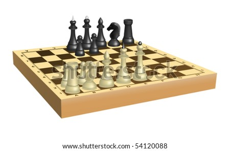 Set of chess. Mesh is used - stock vector