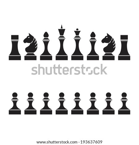 Set of chess pieces (chessmen, chess set), vector illustration - stock vector