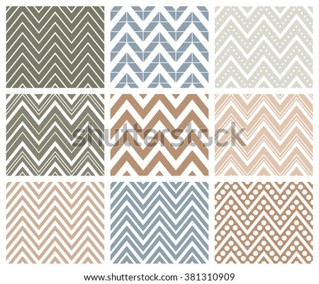 Set of 9 chevron seamless patterns with zigzags. Can be used for wallpapers, pattern fills, website backgrounds, book design, textile prints etc. EPS8 vector illustration includes Pattern Swatches. - stock vector