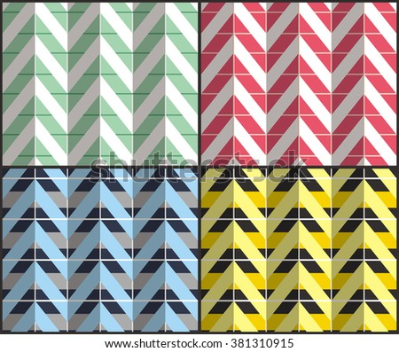Set of 4 chevron seamless patterns with zigzags. Can be used for wallpapers, pattern fills, website backgrounds, book design, textile prints etc. EPS10 vector illustration includes Pattern Swatches. - stock vector