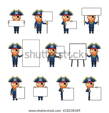 Set of chibi pirate characters posing with diverse blank banners. Funny pirate captain holding paper, poster, placard, pointing to whiteboard. Teach, advertise. Simple vector illustration