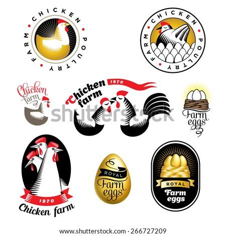 Egg Vector Logo Set of Chicken And Eggs Logos