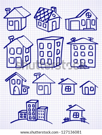 set of child's drawing doodle houses - stock vector