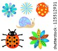 Set of childish hand drawn icons, creatures, flowers - stock vector