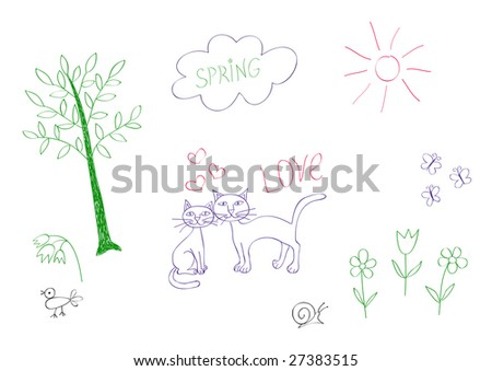 Set of childish vector doodles for your spring or summer design - stock vector