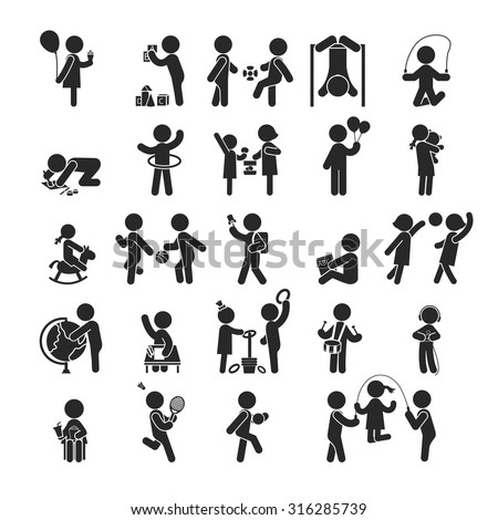 Set of children activities play and learn ,Human pictogram Icons , eps10 vector format - stock vector