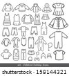 Set of Children clothing. Vector icons. - stock