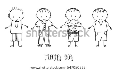 Set Children Drawing Boys Template Painting Stock Vector 547050541 ...