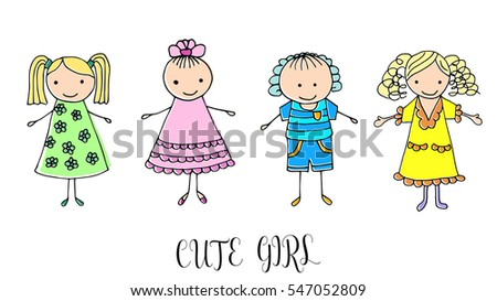 Set Children Drawing Girls Template Painting Stock Vector ...