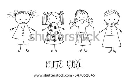 set of children drawing a girls the template for the painting hand drawn girls