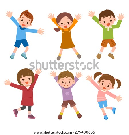 Set of children laughing jump - stock vector