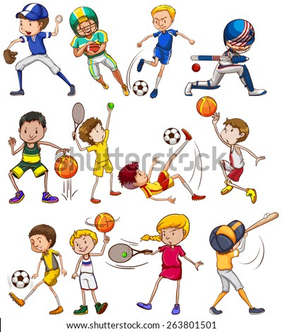 Set of children playing different kinds of sports - stock vector