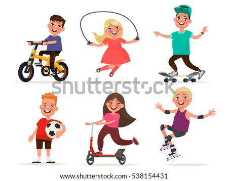 Set of children's characters of boys and girls involved in sports. Vector illustration in cartoon style