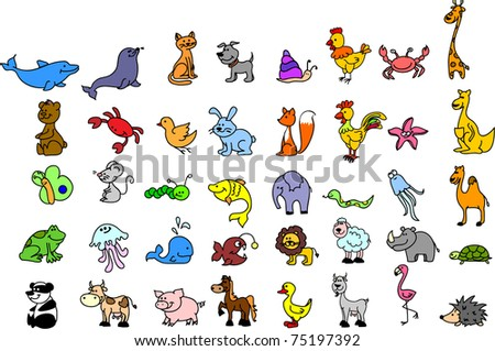 set of children's icons of animal - stock vector
