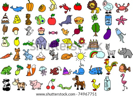 set of children's icons of food and animal