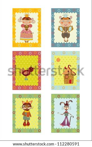 set of children's stickers,cards - stock vector