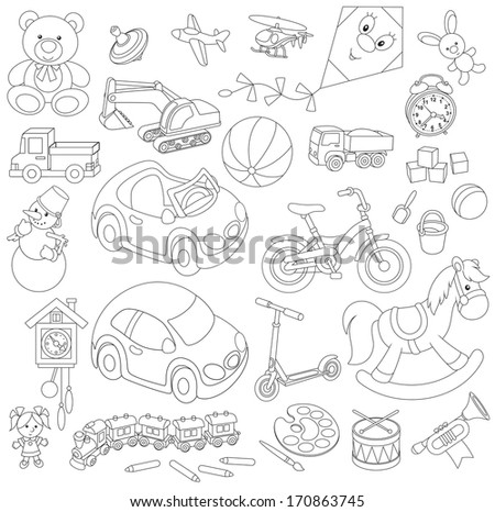 Set of children's toys in cartoon style, black and white outline illustrations on a white background - stock vector