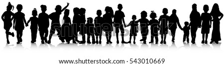 set of children silhouettes