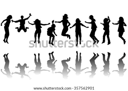 Set of children silhouettes jumping