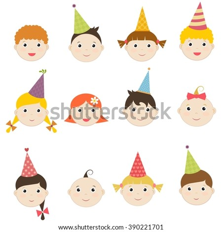 Set of children with birthday hats - stock vector