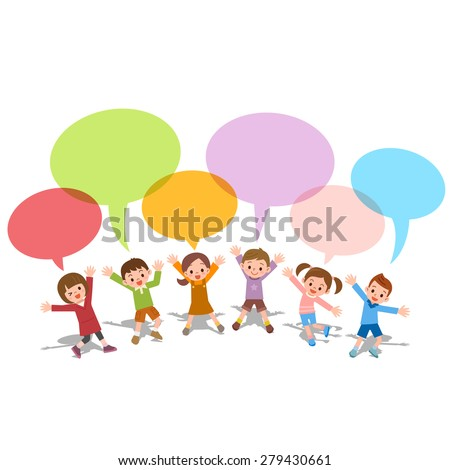 Set of children with colorful dialog speech bubbles Vector illustration of thinking concept - stock vector