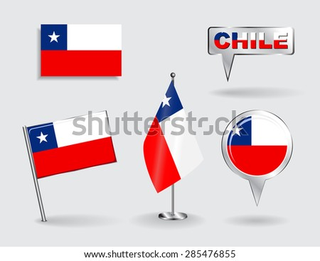 Set of Chilean pin, icon and map pointer flags. Vector illustration. - stock vector