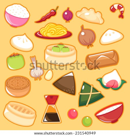 Set of Chinese Foods. - stock vector