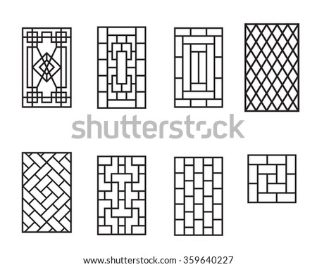 Set Chinese Pattern Window No Frame Stock Vector Royalty