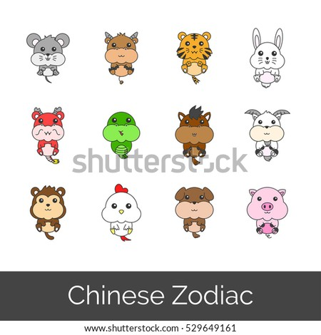 Set of Chinese Zodiac in Fatty Cartoon Style Vector Illustration