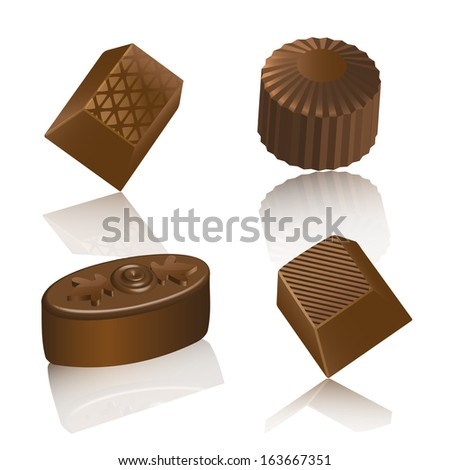 set of chocolate realistic candy
