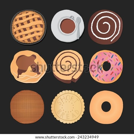 Set of chocolate sweets, cakes and other chocolate food - stock vector