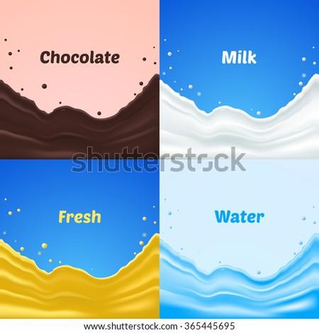 Set of chocolate, water, fresh and milk splash, vector illustrating - stock vector