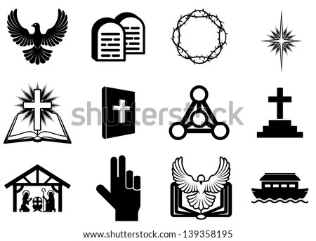 Set of Christian religious icons, signs and symbols - stock vector