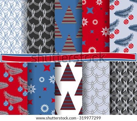 set of Christmas abstract vector paper with decorative shapes and design elements for scrapbook - stock vector