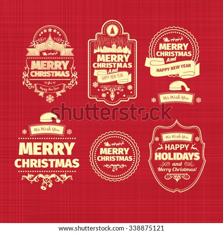 Set of Christmas and Happy New Year badges labels with clean modern styled design  . Christmas decoration collection. Calligraphic and typographic elements, labels, signs. Eps 10 vector illustration. - stock vector