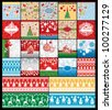 Set of Christmas and New Year cards with embroidery seamless patterns - stock vector