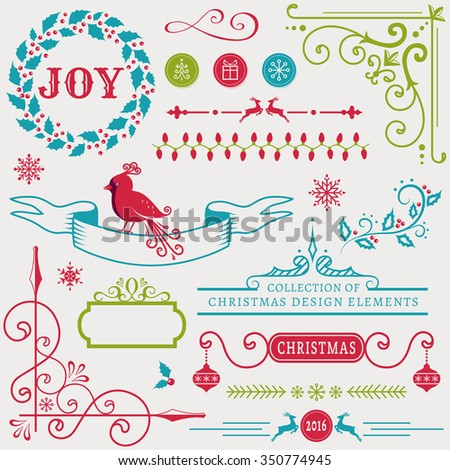 Set of christmas and new year decorations isolated on white background. Collection of elements for greeting card, party invitations, page and web decor or other holiday design. Vector illustration. - stock vector