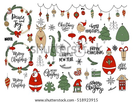Set of Christmas and New Year doodle holiday characters and elements: Santa, bear, snowman, noel, gift, balls, bell, snowflakes, garland, wreaths, lettering. Funny cute design.