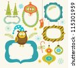 Set of Christmas and New Year elements, cute frames for your text - stock vector