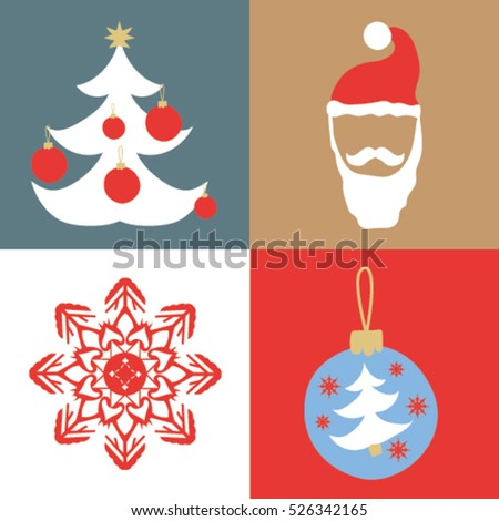 Set of Christmas and New Year flat icons. Tree decorations, snowman, snowflake vector illustrator