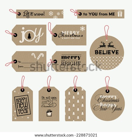 Set christmas new year gift tags 228871021 set of christmas and new year gift tags negle Choice Image