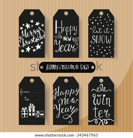 Set of Christmas and New Year gift tags with hand drawn design element  - stock vector