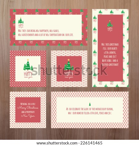 Set of Christmas and New Year greeting cards - stock vector