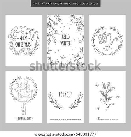 Set christmas new year greeting cards stock vector royalty free set of christmas and new year greeting cards hand drawn vector coloring pages illustration for m4hsunfo