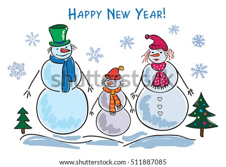 Set of Christmas and New Year  holiday characters snowman and snowflakes.