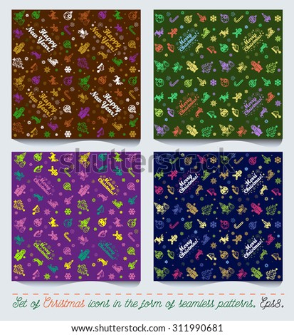 Set of Christmas and New Year icons flat as a seamless patterns. eps 8. - stock vector