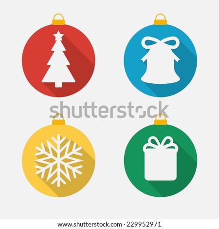 Set of Christmas and New Year icons, flat icons. Christmas balls - stock vector